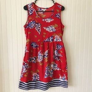 Anthropology Porridge Red Floral Sleeveless Dress